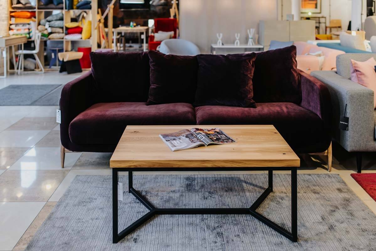 Coffee table in industrial style - shop display