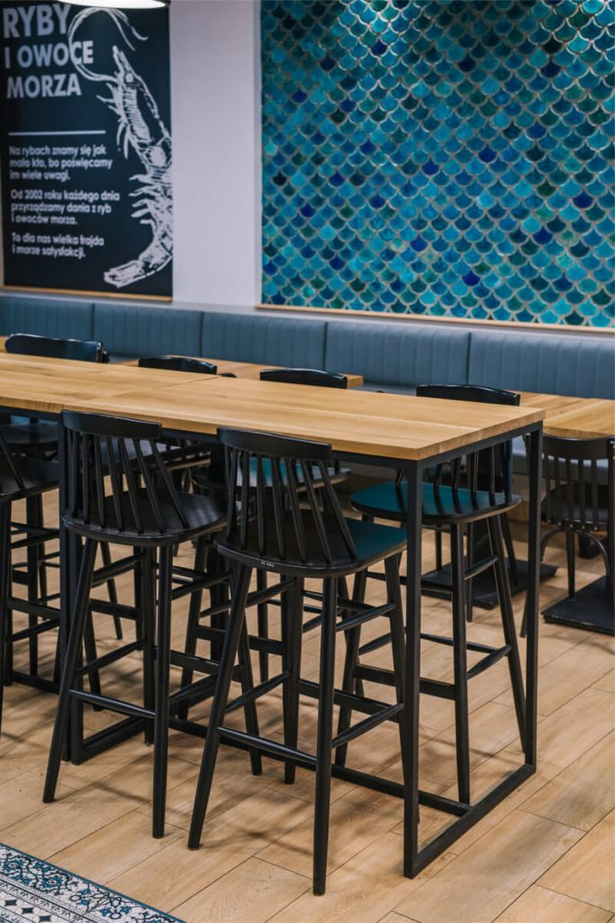 Industrial wooden tables for North Fish
