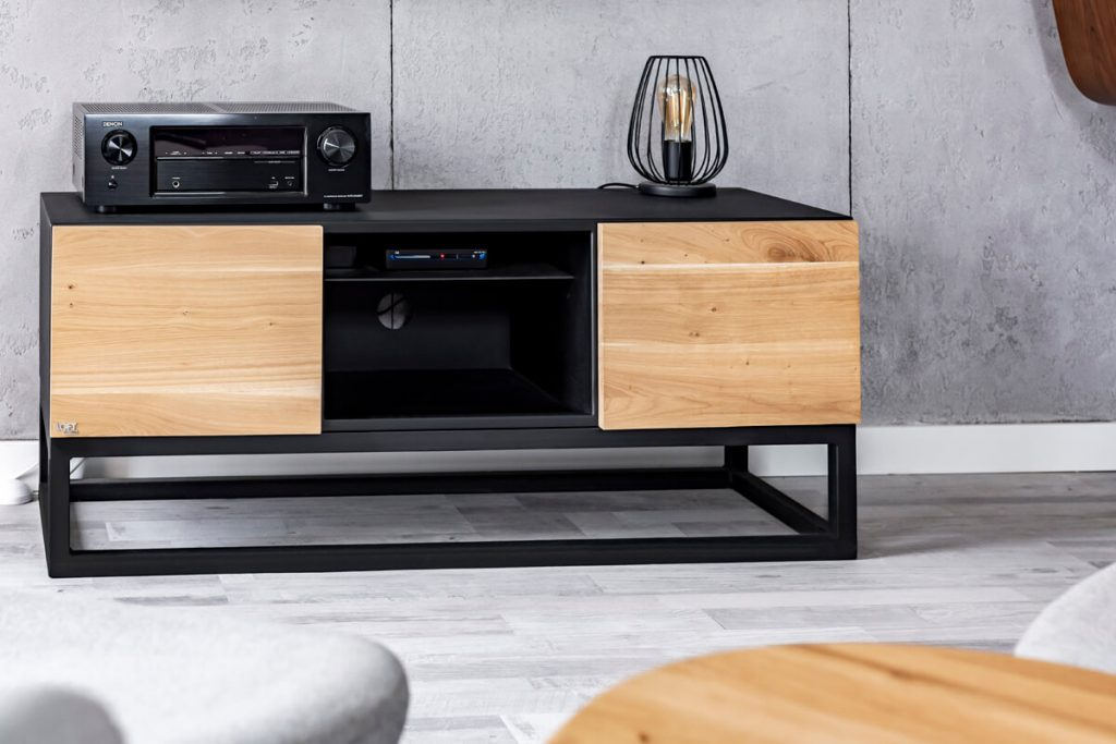 Wooden TV cabinet in industrial style from LOFT Decora