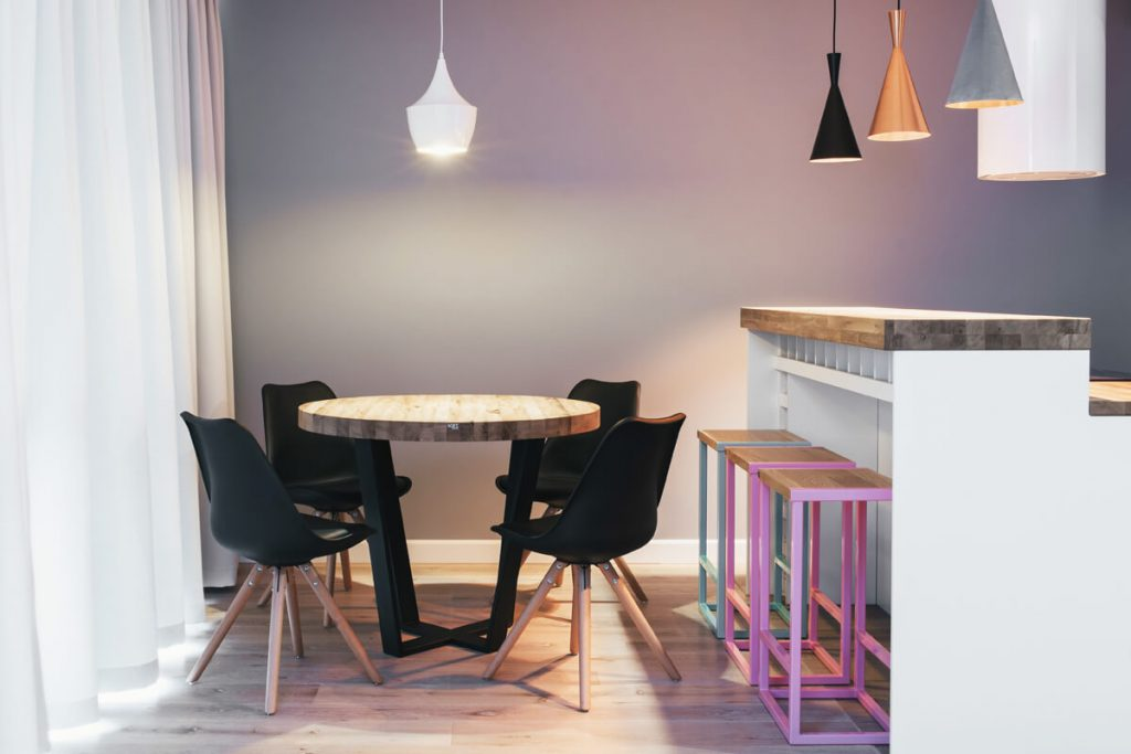 Wooden dining table TAVOLO in one of the implementation