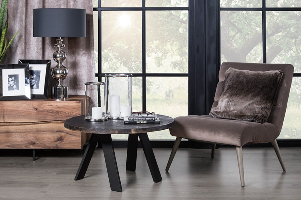 A wooden coffee table created by LOFT Decora