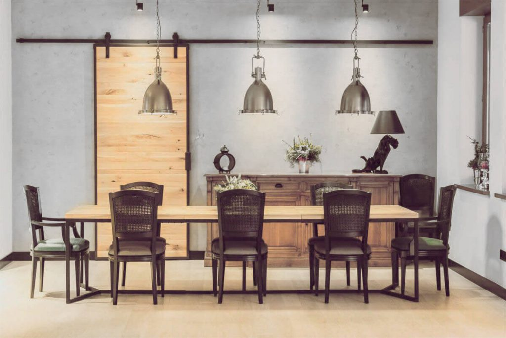 A large dining table in an industrial style from LOFT Decora