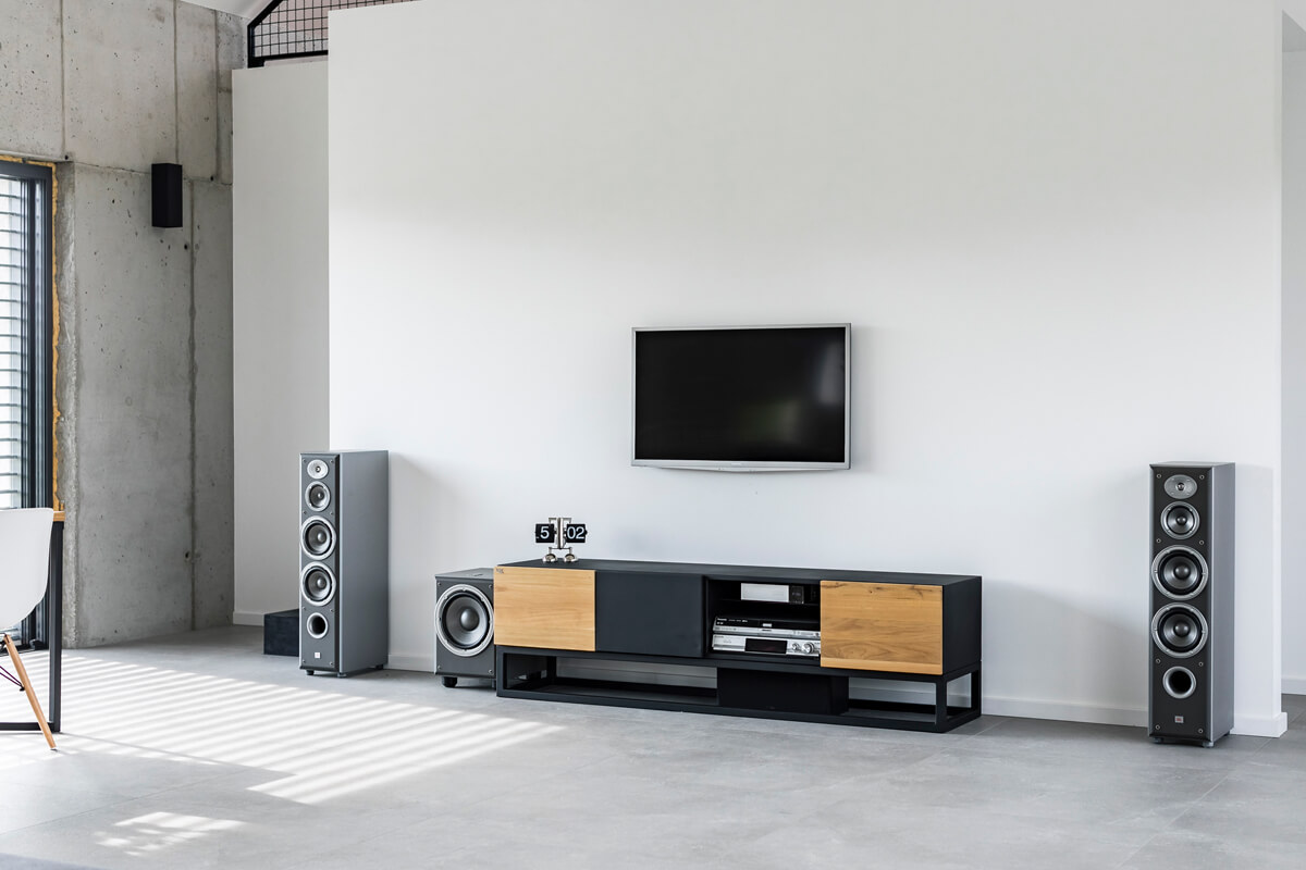 Industrial TV cabinet in the implementation of LOFT Decora