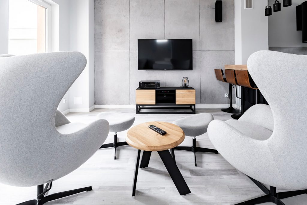 LTV TV cabinet in a composition with a wooden WALK coffee table