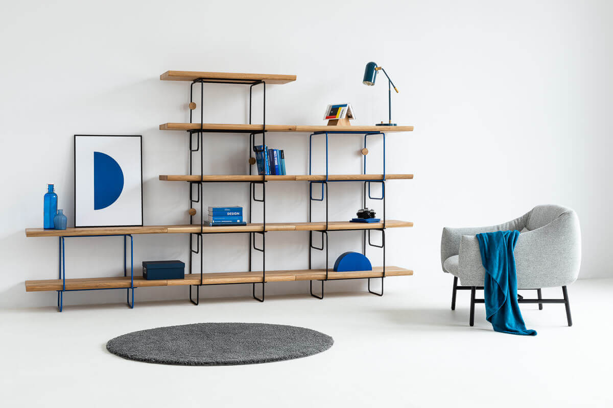 Industrial Bookshelf made of wood and steel by Loft Decora